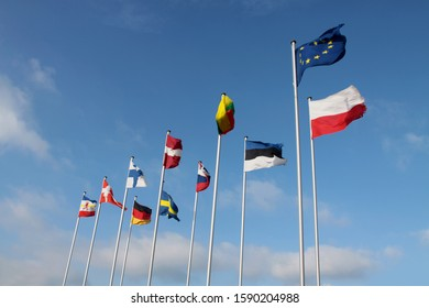 The flags of the countries on the Baltic Sea