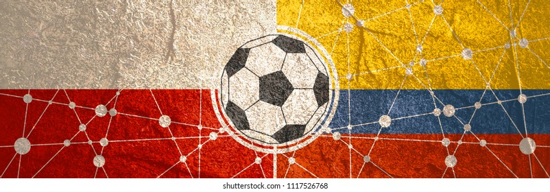 Flags of countries participating to the football tournament. Poland and Colombia national flags. Soccer ball in the center. Connected lines with dots