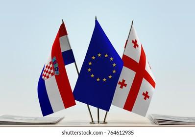 Flags of Croatia European Union and Georgia