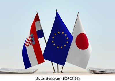 Flags of Croatia European Union and Japan