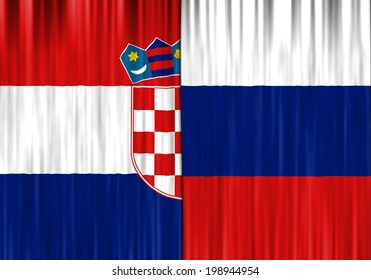 Flags of Croatia and Russian Federation depicted as closed curtain