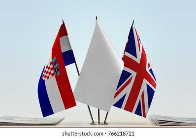 Flags of Croatia and United Kingdom with a white flag in the middle