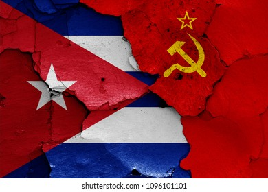 flags of Cuba and Soviet Union