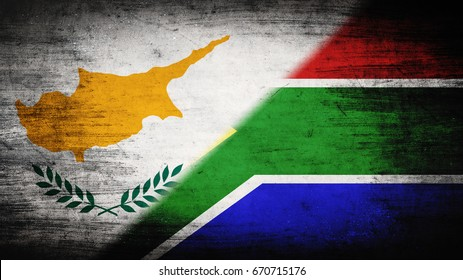 Flags of Cyprus and Republic of South Africa divided diagonally