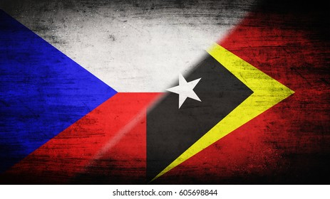 Flags of Czech Republic and East Timor divided diagonally