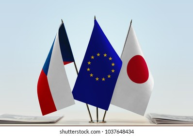 Flags of Czech Republic European Union and Japan