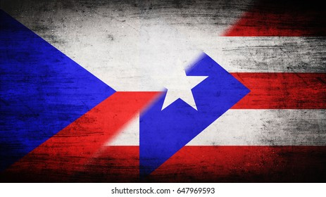 Flags of Czech Republic and Puerto Rico divided diagonally