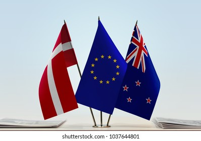 Flags of Denmark European Union and New Zealand