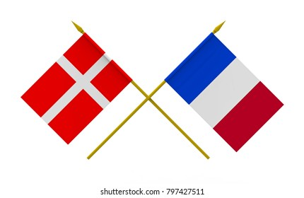Flags of Denmark and France, 3d render, isolated on white