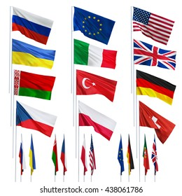 Flags of different countries. Isolated