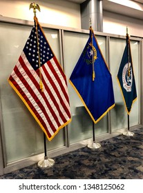 Flags displayed at the airport include the American flag, state of Nevada flag and department of homelands security flag