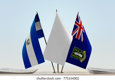 Flags of El Salvador and British Virgin Islands with a white flag in the middle