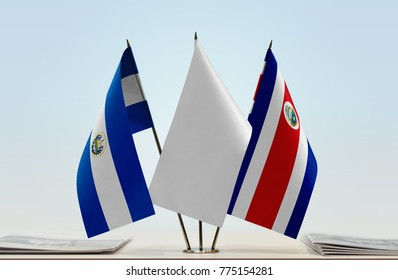 Flags of El Salvador and Costa Rica with a white flag in the middle