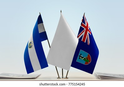Flags of El Salvador and Montserrat with a white flag in the middle