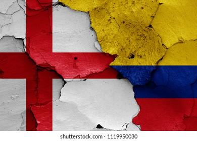 flags of England and Colombia