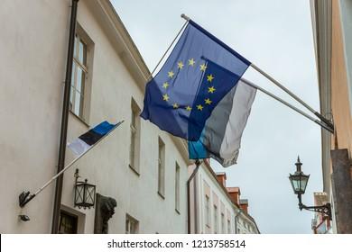 Flags Estonia and European Union