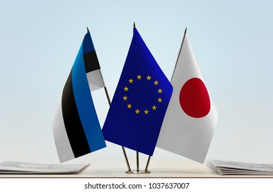 Flags of Estonia European Union and Japan