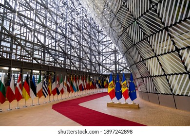 Flags of Europe and Moldova stand in EU headquarters in Brussels, Belgium, 18 January 2021.
