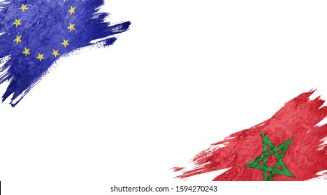 Flags of Europe Union andMorocco on White Background
