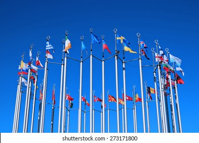 Flags of European countries against the blue sky