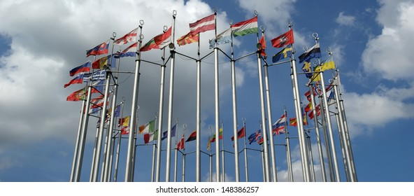 Flags of European countries against the sky
