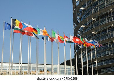 the flags of the European Parliament of Strasbourg