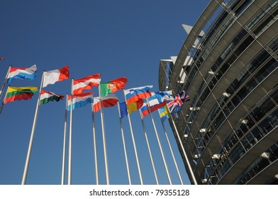 flags of the European Parliament of Strasbourg