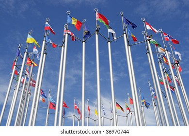 Flags of the European states against the blue sky. Russia, Moscow.