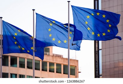 Flags of the European Union in Brussels. 17-12-2018