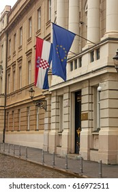 Flags of European Union and Croatia on the building of the Croatian Parliament
