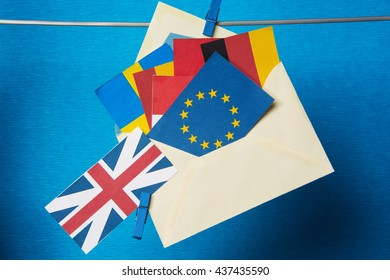 Flags of European Union (flags of different countries  eurozone) and United Kingdom, Brexit UK EU referendum concept. placard for text