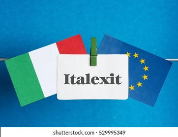 Flags of European Union (flags of different countries eurozone) and  Flag of Italy. Italexit - Italy Exit EU  referendum concept. placard for text