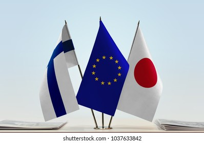 Flags of Finland European Union and Japan