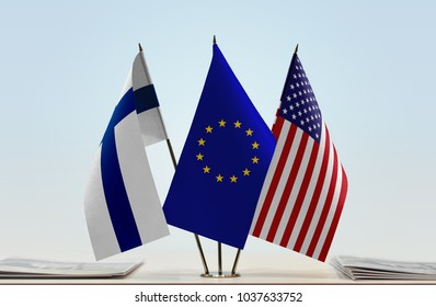 Flags of Finland European Union and USA