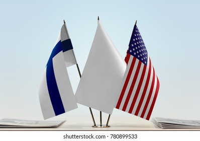 Flags of Finland and USA with a white flag in the middle