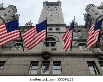 Flags flying on historical building