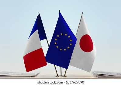 Flags of France European Union and Japan