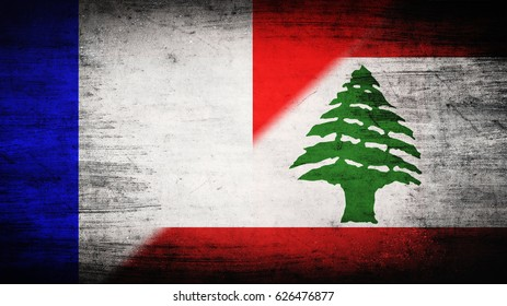 Flags of France and Lebanon divided diagonally