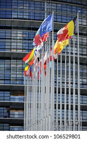 Flags in front of the European Parliament, Strasbourg, Alsace, France. Useful file for your article related to politics, foreign relations and economic news.