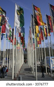 Flags in front of the ITB, berlin, germany