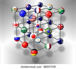 Flags of G20 group members connected as a molecule / G20 molecule