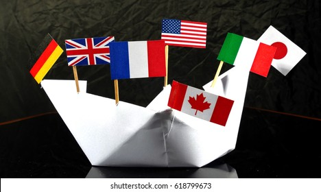 Flags of G7 isolated on black background
