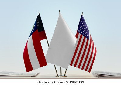 Flags of Georgia (ST) and USA with a white flag in the middle