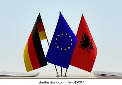 Flags of Germany European Union and Albania