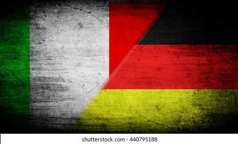 Flags of Germany and Italy divided diagonally