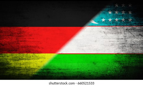 Flags of Germany and Uzbekistan divided diagonally