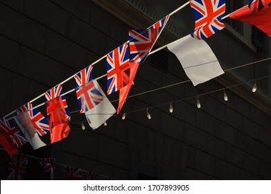 The flags of Gibraltar waving on the national day