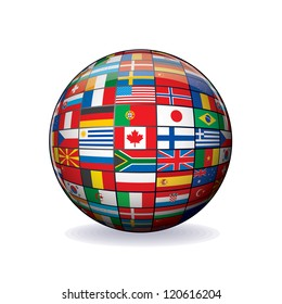 Flags Globe. Sphere with Flags of the World. Object Isolated on white Background.