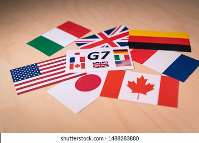 Flags of the Great 7 or Big seven. Suitable for G7 or G8 summit economic political concept