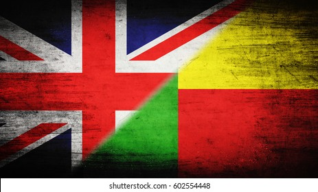 Flags of Great Britain and Benin divided diagonally